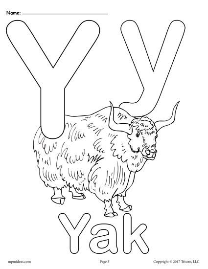 Letter Y Alphabet Coloring Pages 3 Printable Versions