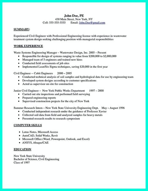 Some Necessary Keys For Civil Engineering Resume Civil Engineer Resume Engineering Resume Resume Templates
