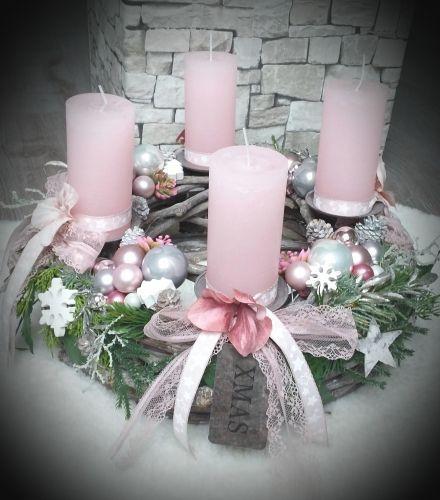 Besonderer Adventskranz Rosa Altrosa Vintage Shabby Rustic Adventskranzgrau Festliche Kart Weihnachtsdeko Rosa Adventskranz Weiss Deko Weihnachten Adventskranz