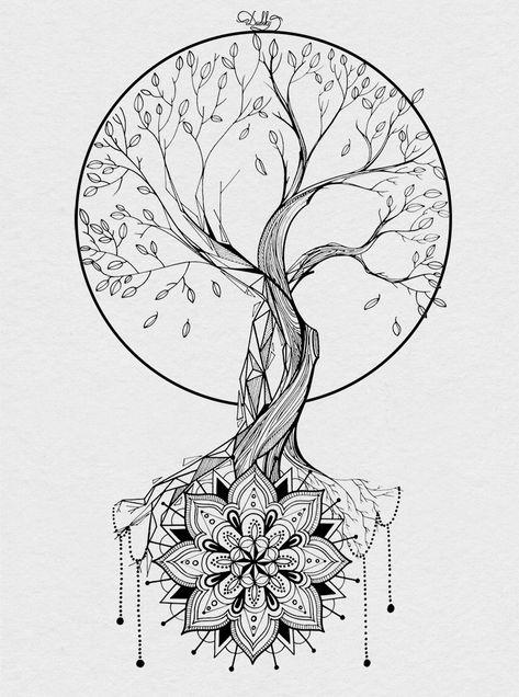 designed by / Dotwork Tattoo Mandala, Mandala Tattoo Design, Mandala Art, Colorful Mandala Tattoo, Sunflower Mandala Tattoo, Mandala Tattoo Back, Mandala Sketch, Moon Mandala, Mandala Drawing