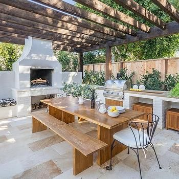 Pergola With White Stucco Outdoor Fireplace Transitional Deck Patio Outdoor Kitchen Decor Outdoor Kitchen Design Outdoor Kitchen