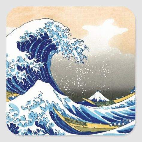 北斎 Great Wave Off Kanagawa Hokusai Fine Art Classic Round Sticker | Zazzle.com