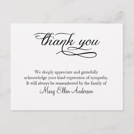 Thank You Funeral Thank You Note Card Behreavement Zazzle Com