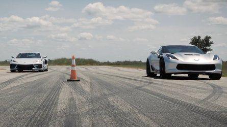 Hennessey Corvette C7 Roll Races Stock C8 In 2020 Corvette Drag Race Hennessey