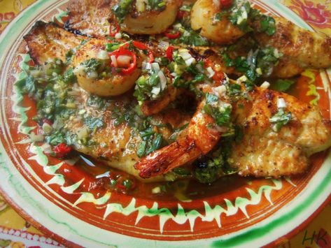 Grilled Catfish, Shrimp and Scallops with Chimichurri