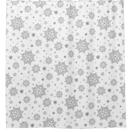 Black And White Snowflake Shower Curtain Snowflake Shower White