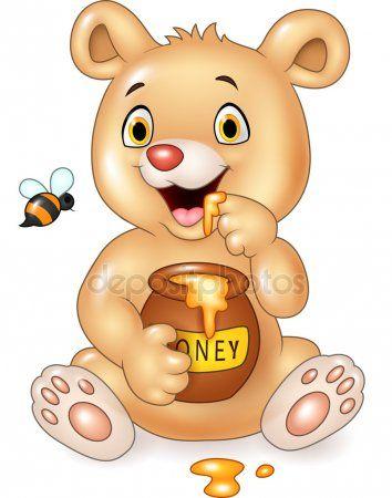 Desenhos Animados Engracados Bebe Urso Segurando O Pote De Mel