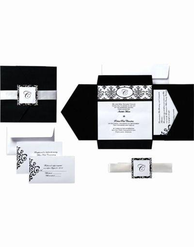 Party City Wedding Invitation New 20 For 25 Black White Scroll Square Pocket Printable City Wedding Invitations Wedding Party Invites Wedding Invitations
