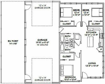 Details About 46x48 House 3 Bedroom 2 Bath 1 Rv 1 157 Sqft Pdf Floor Plan Model 3 Barndominium Floor Plans Floor Plans How To Plan