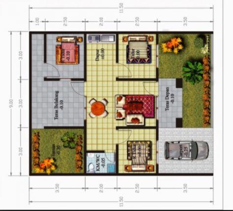 Desain Rumah Minimalis Ukuran 6x15 99 denah rumah minimalis 3 kamar tidur type 36 denah