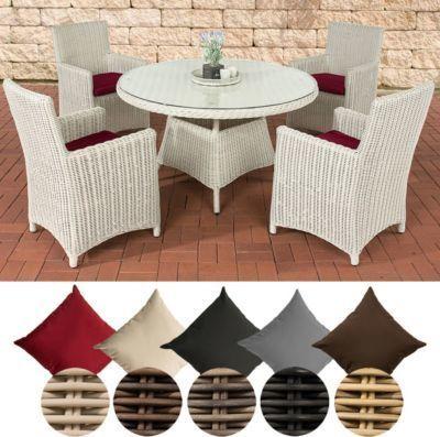Poly Rattan Sitzgruppe Pinella 4 Stuhle Tisch Rund O 130 Cm Premiumqualitat 5 Mm Rund Geflecht Jetzt Bestellen Unter Https Gartenmobel Mobel Sitzgruppe