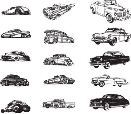 Vintage Car Icons Collection Black White Design Free Vector Download