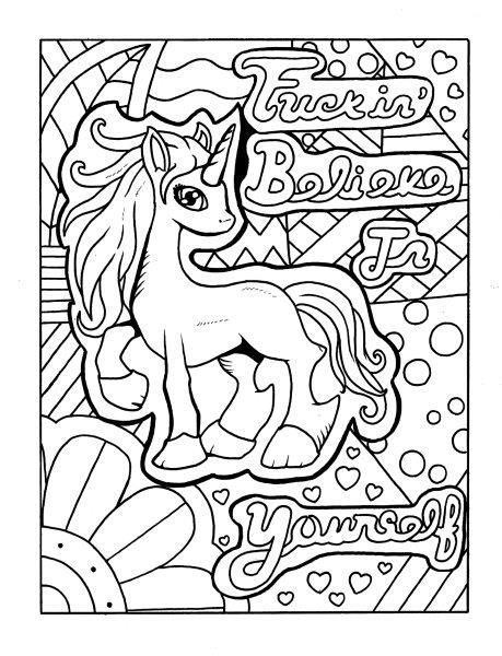 Unicorn Adult Coloring Page Swear Get 14 Free Printable
