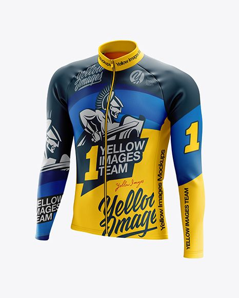 Free Psd Mockup Men S Cycling Thermal Jersey Ls Mockup Half Side