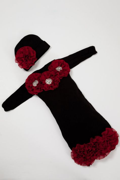 Infant Baby Layette Black Cotton Baby Gown with Burgundy Chiffon Flowers and Rhinestones on Etsy, $36.00