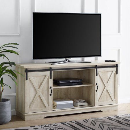 Manor Park Modern Farmhouse Sliding Barn Door Tv Stand For Tv S Up To 64 Inch Solid White Oak Size 28 Inch H X 58 Inch Large X 16 Inch W In