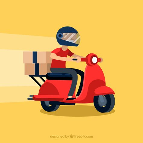 Download Modern Delivery Man With Helmet for free