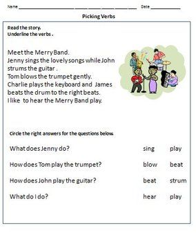 Verbs Worksheets Action Words For Grade 1 Action Words Verb