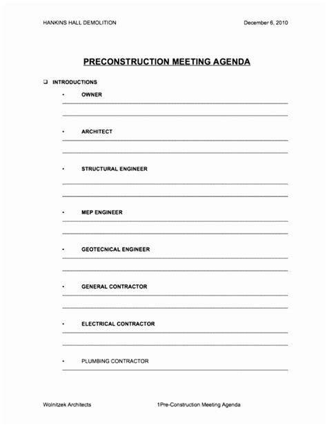Pre Construction Meeting Agenda Template Best Template Ideas Agenda Template Meeting Agenda Template Meeting Agenda