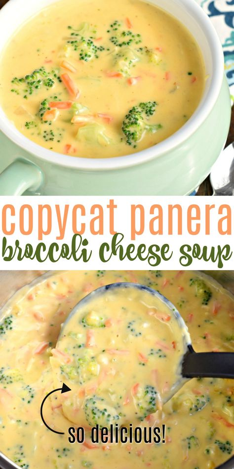 Broccoli Cheese Soup Copycat Panera Broccoli Cheese Soup is ready in less than 30 minutes! The perfect bowl of comfort food without leaving your house! Brocolli Soup Recipes, Brocolli Cheddar Soup, Best Broccoli Cheese Soup, Cauliflower Cheese Soups, Chicken Soup Recipes, Easy Soup Recipes, Broccoli Casserole, Recipes With Cheese Soup, Copycat Panera Broccoli Cheddar Soup Recipe