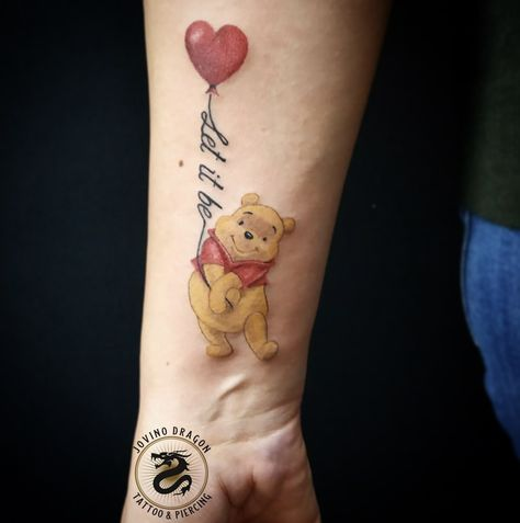Winnie the Pooh Bear colorful Balloon Tattoo with script Let It Be