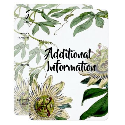 Passion Flower Additional Information Card Wedding Invitations Cards Custom Invitation Card Design Flower Wedding Invitation Wedding Saving Flower Invitation