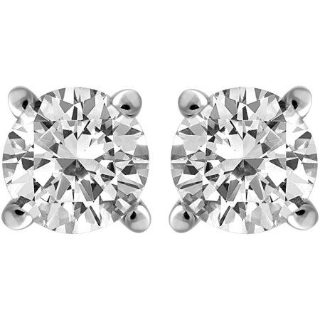 Carina 1 4 Carat T W Round Diamond Sterling Silver Stud Earrings With Images White Gold Earrings Studs Gold Earrings Studs White Gold Studs