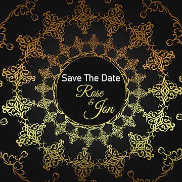 دعوة الذهب الأسود الحدود الأوروبية مع الملكي Gold Invitations Flower Invitation Card Flower Wedding Invitation