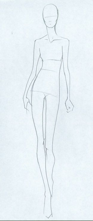 Sketches of models in fashion dresses