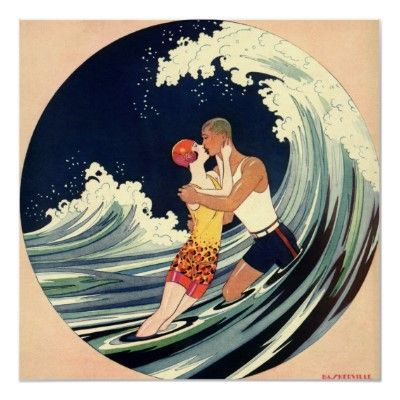 Love in the Surf; Romantic Kiss by Beach