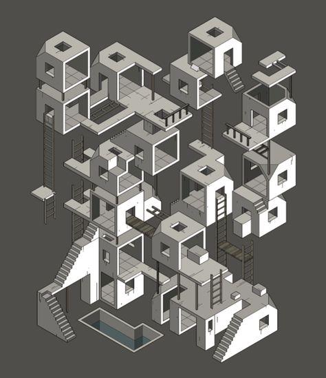 Sad City by Miquel Tura Rigamonti, via Behance Isometric Drawing, Isometric Design, Concept Models Architecture, Architecture Design, Invisible Cities, 3d Modelle, E Mc2, Illusion Art, Optical Illusions