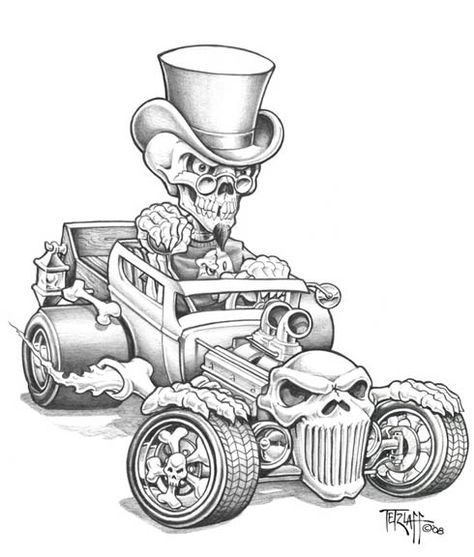 Bone Rod pencil by Tetzlaff on DeviantArt Skull Tattoo Design, Skull Tattoos, Skeleton Tattoos, Cool Car Drawings, Cars Coloring Pages, Rat Fink, Garage Art, Automotive Art, 32 Ford