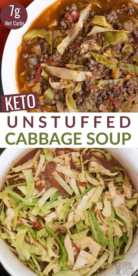Cabbage Soup Recipes, Low Carb Soup Recipes, Ketogenic Recipes, Keto Recipes, Cooking Recipes, Healthy Recipes, Fruit Recipes, Kitchen Recipes, Unstuffed Cabbage Soup