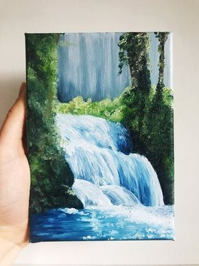 Painting Of A Waterfall Landscape Artwork Wall Decoration Etsy Waterfall Paintings Landscape Artwork Painting Art Projects