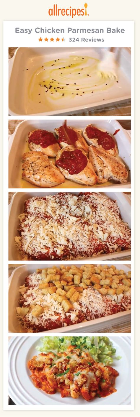 Easy Chicken Parmesan Bake | Learn an amazing technique for making baked chicken Parmesan. This quick and easy chicken Parmesan is baked, not fried.