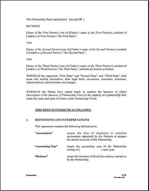Partnership Agreement Real Estate Forms Legal Forms - partnership agreements