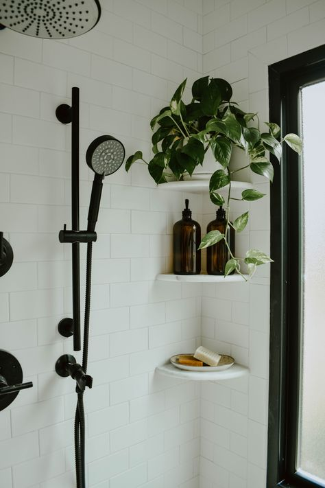 white subway tile bathroom, picture ledge bathroom, free standing tub, american standard cadet tub, matte& The post Modern Eclectic Bathroom Remodel & House On Longwood Lane appeared first on England Gardens. Wooden Bathroom Vanity, White Subway Tile Bathroom, Master Bathroom, Bathroom Black, Paint Bathroom Tiles, Wooden Bathroom Shelves, Bathroom Mural, Black White Bathrooms, Vanity Shelves