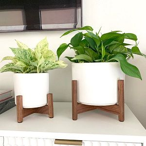 Mid Century Modern Planter Plant Pot With Gold Metal Plant Stand