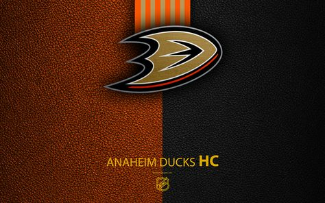 Download wallpapers Anaheim Ducks, HC, 4K, hockey team, NHL, leather texture, logo, emblem, National Hockey League, Anaheim, California, USA, hockey, Western Conference, Pacific Division