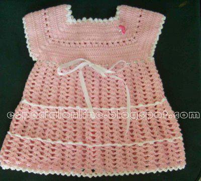 CROCHE: Vestidinho bebê primeira ,segunda ,continuação e fim!!