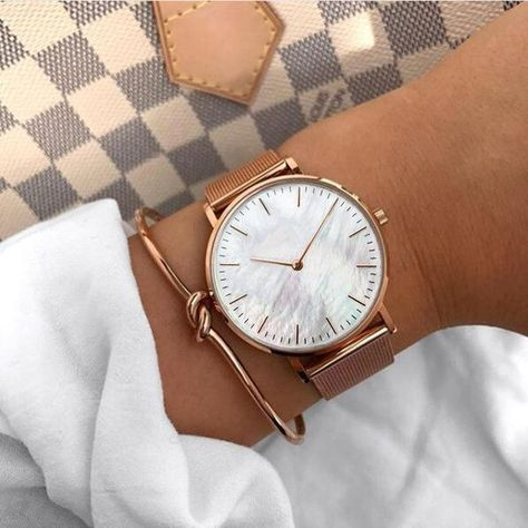 Mavis Hare Rose Gold WristWatches Pink Seashell Pearl Women Watches with Roman number Bangle & Crystal Cuff Bangles beach girls
