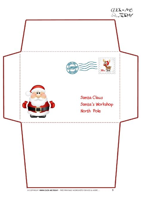 Printable Letter to Santa Claus envelope template -Cute Santa Stamp