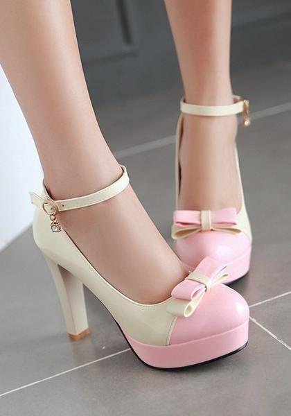 3ad8afa58f1 Beige Round Toe Chunky Bow Buckle Sweet High-Heeled Shoes | cupcake ...