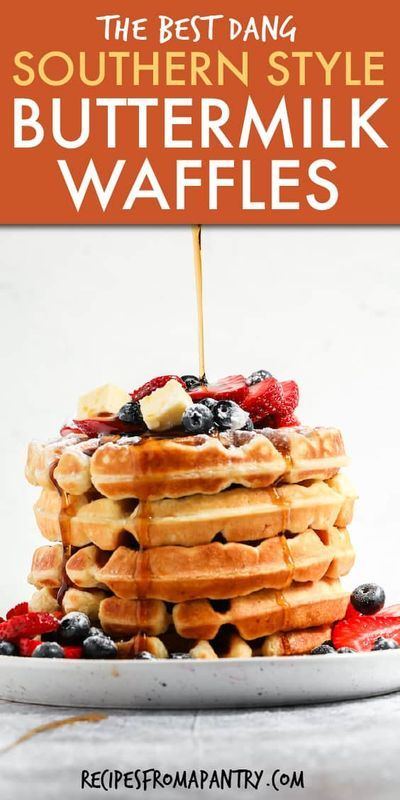 Fluffy Buttermilk Waffles In 2020 Waffles Recipe Homemade Homemade Waffles Easy Waffle Recipe