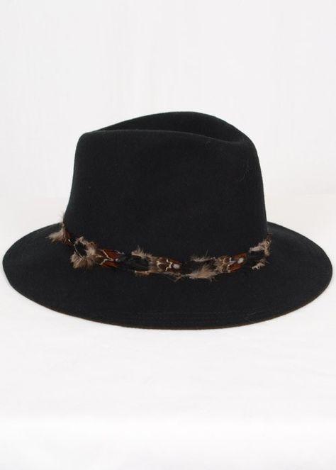 Black Feather Trim Felt Hat  05d947421136