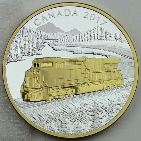 2017 $20 GE ES44-AC Locomotives Across Canada 1 oz Pure Silver Gold-Plated