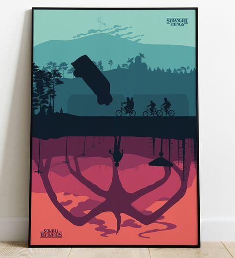 Stranger Things A3 A4 Digital Poster minimalist Upside Down Printable Series Tv Netflix Movie film