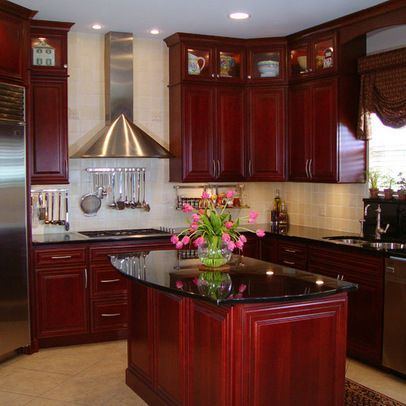 Dark Red Cherry Kitchen Cabinets Mahogany Kitchen Decorating