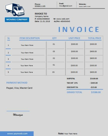 Moving Company Invoice Template Free Best Template Collection In 2020 Moving Company Invoice Template Best Templates