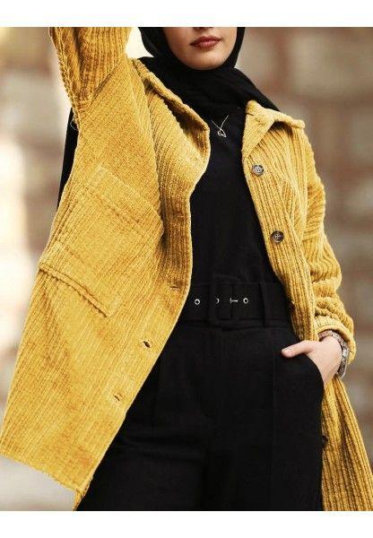 Fitilli Kadife Ceket Hardal Kadin Ceketleri Mont Kadin Giyim